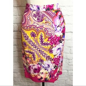 ETRO Garden Party Paisley Pencil Skirt 40 4 Small